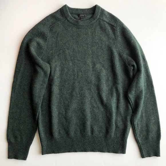 J.Crew Men's Forest Green Lambswool Sweater